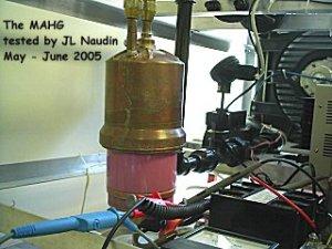 La réplica de Naudin del sistema de hidrógeno de Moller.