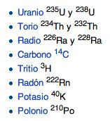 Tabla de los isótopos radiactivos.
