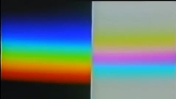 A la izquierda el conocido espectro de color de la luz newtoniano, a la derecha, el desconocido espectro de la oscuridad Goethiano. Nótese que el verde es el complementario del magenta y así sucesivamente.