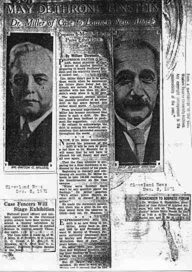 Noticia del desafío de Miller a Einstein por el éter.