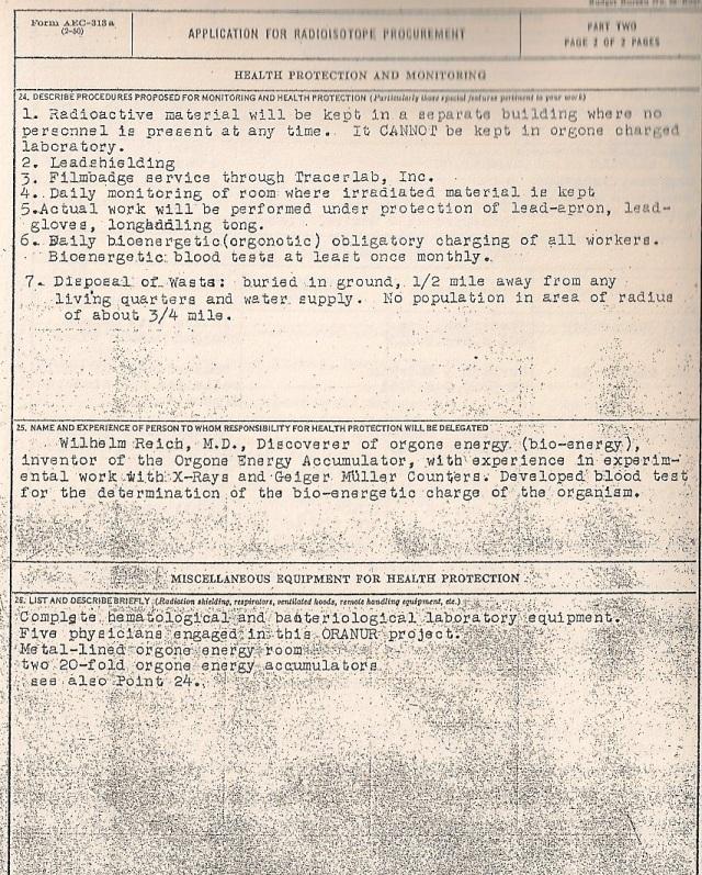 Tercera Hoja de la petición de Fósforo Radiactivo, donde se lee textualmenente que este material no puede introducirse en los acumuladores orgónicos. Ref; Where's The truth. Pag 72.