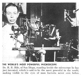Wilhelm Reich y el descubrimiento del orgón. Segunda Parte. Del orígen de la vida al descubrimiento de los Biones. Rife-microscope1