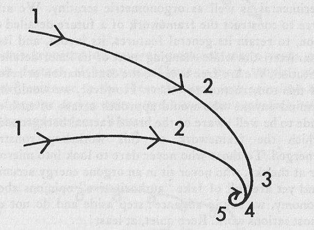 Los cinco pasos de la superimposición. Dos flujos se cortan, pierden velocidad, se juntan, se superimponen y se convierten en materia. Wilhelm Reich, Cosmic Superimposition. Capítulo 1. Pag 183.
