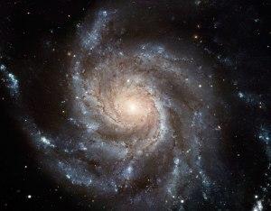 Galaxia Messier 101 sería un ejemplo de galaxia espiral dominada por tres corrientes orgónicas interlazadas.